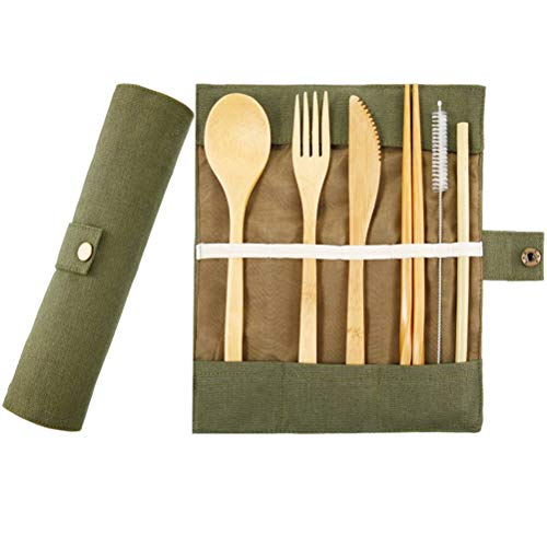 16si Bamboo Utensils Cutlery Set Reusable Cutlery Travel Set Eco Friendly Wooden Silverware for Kids Adults Outdoor Portable Utensils with Case Bamboo Spoon Fork Knife Brush Chopsticks