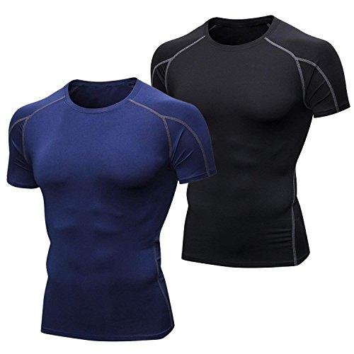 Niksa 2 Piezas Camisetas de Fitness Compresión Ropa Deportiva Manga Corta Hombre para Correr, Ejercicio,Gimnasio Negro Gris+ Azul Marino 1053(L)
