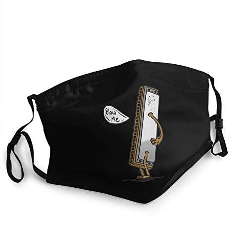Adult Kids Cloth Face Cover Blow Me Mundharmonika Staubschutzhüllen Wiederverwendbare Sturmhaube für Outdoor-Black-OneSize