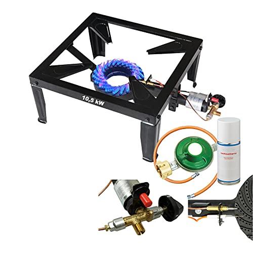 CAGO 4 Bein Profi Gas Hockerkocher 10,5 kW Gasbrenner Gaskocher mit Zündsicherung Piezozündung inkl. Gasschlauch Gasregler und Lecksuchspray