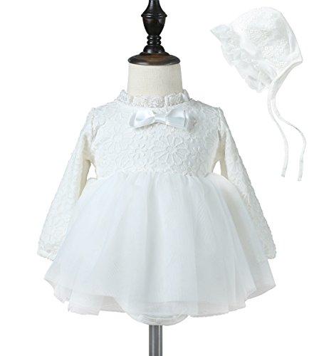 Baby Girl Dress Christening Baptism Gown Formal Dresses (4-7months(70),White