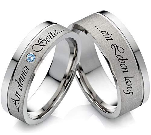 frencheis Eheringe Verlobungsringe aus Edelstahl mit Topas und Laser Gravur Z120