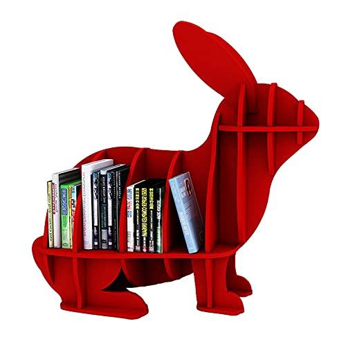 Chunlan EstanteríA para NiñOs LibreríA para NiñOs De Dibujos Animados De JardíN De Infantes Conejito Gracioso EstanteríA De Almacenamiento FáCil De Montar 3 Colores (Size:L,Color:Rojo)