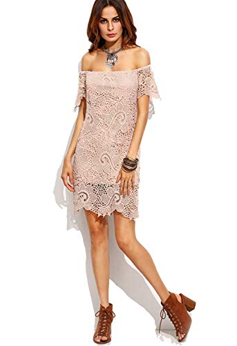 Vrouwen Off-Shoulder Shirt Met Korte Mouwen Kanten Jurk Lace Slim Onregelmatige Lace Party Dress
