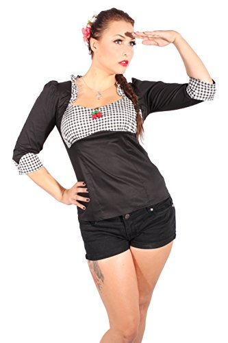 GINGHAM Ruffle Rockabilly pin up Karo Rüschen Kirsche Bluse - 2