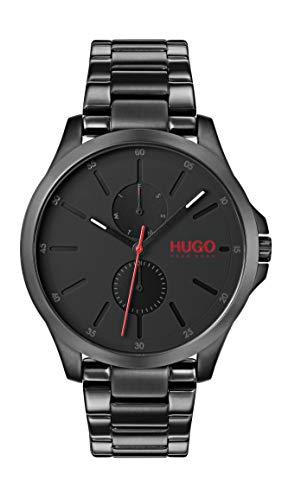 HUGO Herren Multi Zifferblatt Quarz Uhr mit Edelstahl Armband 1530028