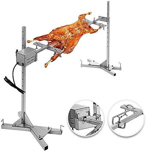 Kacsoo Kit girarrosto girarrosto elettrico automatico Forchette per carne in acciaio inossidabile con spiedo fino a 154 libbre con motore elettrico per picnic campeggio barbecue all'aperto