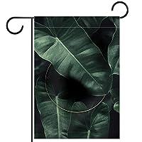 ガーデンフラッグ両面印刷防水熱帯の葉グリーン 庭、庭の屋外装飾用