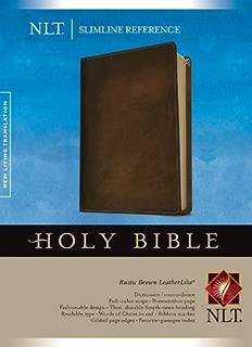 Slimline Reference Bible NLT (Red Letter, LeatherLike, Brown)