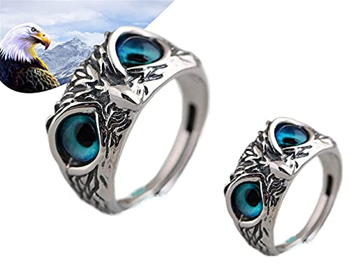 2pcs 925 Sterling Silver Demon Eye Owl Ring,Retro Animal Open Adjustable Ring, Jewelry Gift for men and women