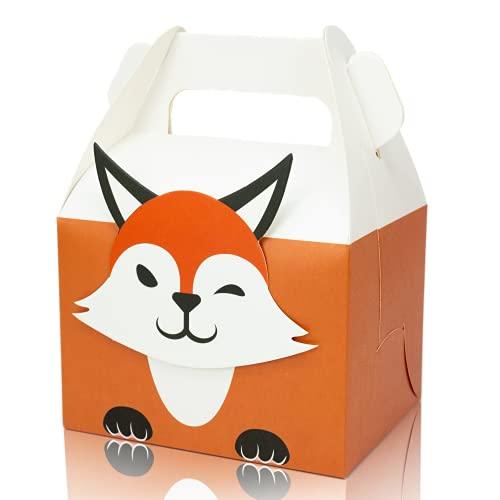 LIMAH® Kraft-Papier-Tüten/Geschenkbox/Geschenktüten Set für Kinder zum Kindergeburtstag, 12 Stück mit Tier-Motiven zum Befüllen. Ideal als Mitgebsel auf Partys für Jungen und Mädchen