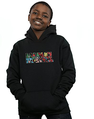 Marvel Comics Boys Logo Character Infill Hoodie Black 12-13 Years