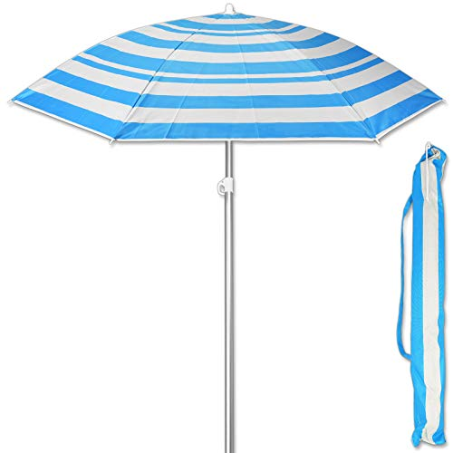 TW24 Sonnenschirm 175 cm mit Farbwahl Strandschirm UV 50+ Sonnenschutz Gartenschirm verstellbar Schirm (Streifen Blau)