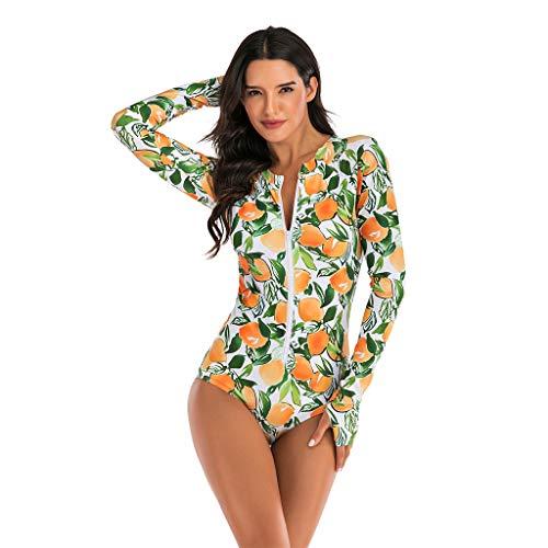 LOPILY Zipper Swimsuit Damen Frucht Gedruckte Badeanzug Sportlich Bikini Langarm Schwimmanzug Sportlich Neoprenanzug Volant UV Schutzkleidung Schwimmanzug Badeanzug (Orange, XXL)