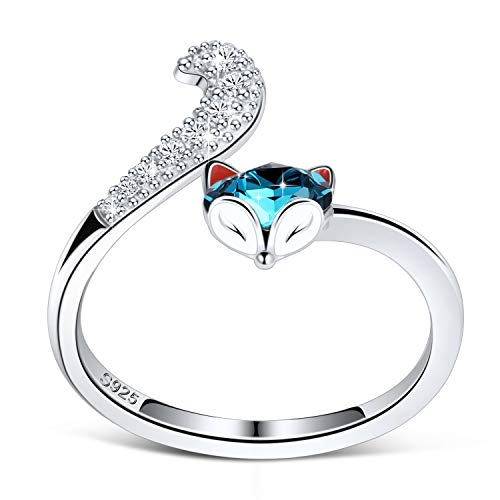 PLATO H S925 Sterling Silver Fox Animal Ring Crystals for Women Teen Girl High Polish Plain Adjustable Fox Tail Funky Ring Anniversary Jewelry Mothers Day Gifts for her