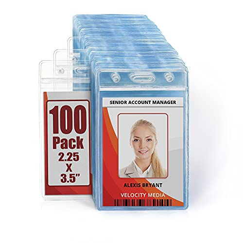 MIFFLIN Plastic Waterproof ID Badge Holders (Clear, 2.25x3.5 Inch, 100 Pack), Vertical Hanging Name Card Holder with Zipper, Resealable Bulk Nametag Holders