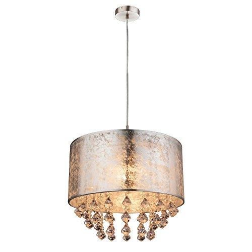 Kristall Hänge Leuchte Textil Pendel Schlaf Zimmer Beleuchtung Decken Lampe silber Globo 15188H3
