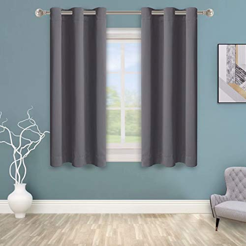 BONZER Grommet Blackout Curtains for Bedroom - Thermal Insulated, Energy Efficient, Noise Reducing and Light Blocking, Room Darkening Curtains for Living Room, Grey, 40 x 63 inch, Set of 2 Panels