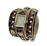 Geneva Platinum 9560 Women's Studded Wrap-around Watch- LEOPARD