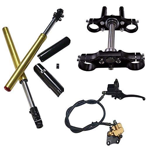 ZXTDR 45mm/48mm Front Hydraulic Forks Shocks & Triple Tree Handlebar Riser Clamp & Brake Calliper for Dirt Pit Bike
