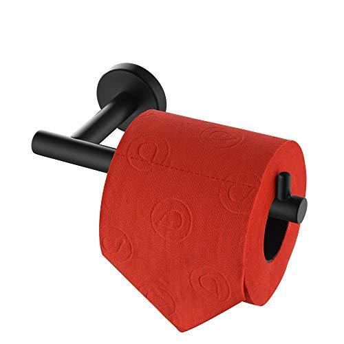 JQK Black Toilet Paper Holder, 5 Inch 304 Stainless Steel Tissue Paper Dispenser, Matte Black Wall Mount, TPH100-PB