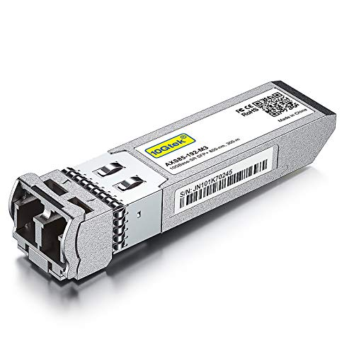 10GBase-SR SFP+ Transceiver, 10G 850nm MMF, up to 300 Meters, Compatible with Cisco SFP-10G-SR, Meraki MA-SFP-10GB-SR, Ubiquiti UF-MM-10G, Mikrotik, Netgear, D-Link, Supermicro, TP-Link and More.