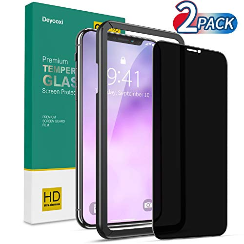Deyooxi 2 Stück Panzerglas Sichtschutz für iPhone 11/iPhone XR, 3D Full Screen Glas Blickschutzfolie mit Positionierhilfe,Privacy Panzerglasfolie Schutzfolie,Anti-Spy Displayschutz Folie,Schwarz