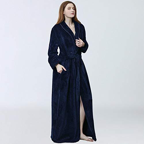 FDJIAJU Bata Baño Mujer,Invierno cálido Espeso Manto de Kimono Azul Oscuro Femenino Cardigan cómodo Camisón Dormir señoras Alargado para Dormir Inicio Ropa Bata,L