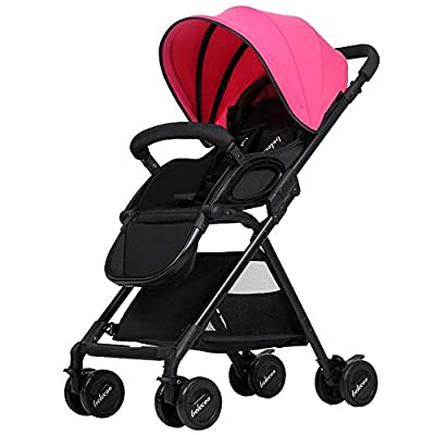 WLD Los cochecitos se pueden sentar Reclining Deck Cushioning Push Stroller 0-3 Years Baby Carriage,Rosa roja