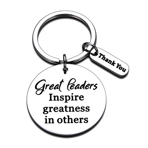 Leaders Appreciation Gifts Boss Keychain for Christmas Birthday Gift for Leader Supervisor PM Mentor Thank You Retirement Farewell Jewelry Coworker Present Great Leaders Inspire Greatness in Others