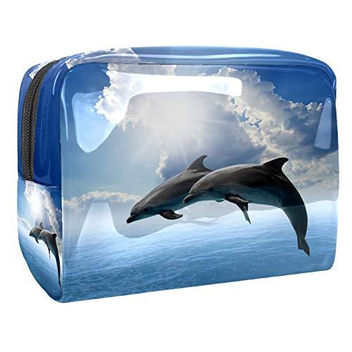 Bolsa de Maquillaje para niños Juego de Delfines Accesorio de Viaje Neceser Pequeño Bolsas de Aseo Impermeable Cosmético Organizadores de Viaje 18.5x7.5x13cm