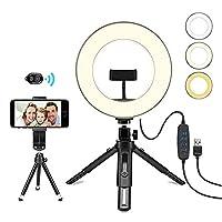 撮影用定常光ライト LEDリングライト照明キット USBライト 3色モード付 き 10段階調光 撮影照明用ライト 卓上ライト Bluetoothリモコン 高輝度 LED スマホスタンド付き 美容化粧/YouTube生放送/ビデオカメラ撮影用,8インチ
