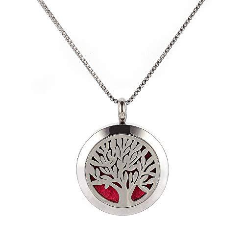 Árbol de la vida Colgante Aromaterapia Difusor de aceites esenciales Collar colgante de medallón de acero inoxidable 4 Almohadillas de fieltro