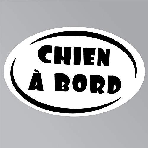 Zone-Stickers Sticker Voiture Chien À Bord - 15cm x 9cm, Noir