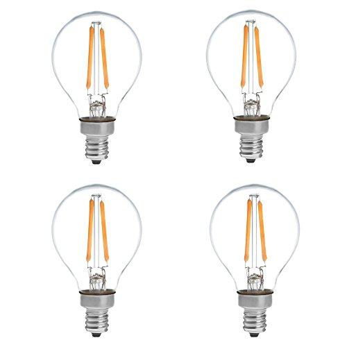 HERO-LED G14-DS-2W-WW27 Dimmable G14 E12 2W Candelabra Style LED Vintage Antique Filament Bulb, 25W Equivalent, Warm White 2700K, 4-Pack