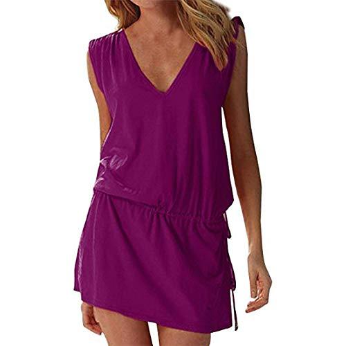 Moceal - Vestido sin mangas para mujer, de verano, sexy, para la playa, informal, tallas grandes, para cócteles, ceremonias, fiestas violeta S-XL