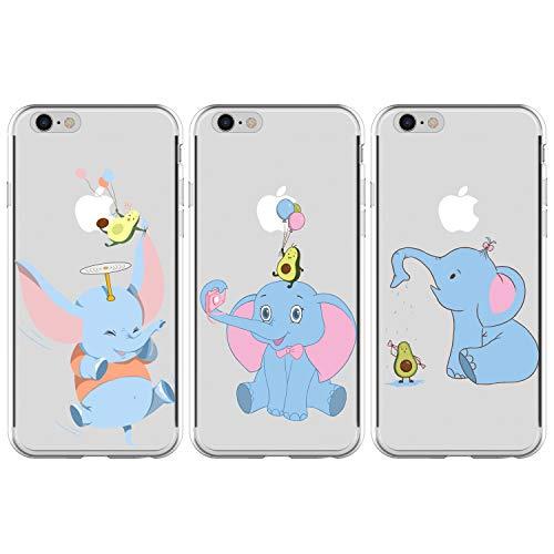 GODTOOK [3 Packs Cover iPhone 6/ iPhone 6s 4.7 Pollice Custodia Silicone Trasparenti con Disegni Case Caso Gomma TPU Morbido [Ultra Slim] [Antiurto Protettiva Cover], Dumbo-Dumbo-Dumbo