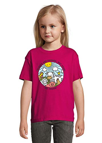 Animals are Friends Not Food Vegan Vegetarian Fuchsia Colorful Kids T-Shirt 130-140 cm (10 Year Old)