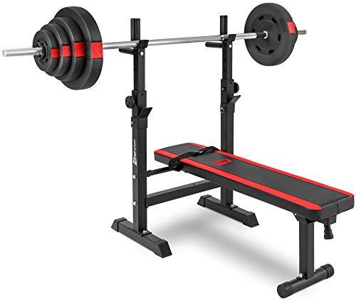 Hop-Sport klappbare Hantelbank Kraftstation 1080 mit Langhantel Set Stange Gewichte 39/69/99 kg zur Wahl (39kg Gewicht + Langhantel)