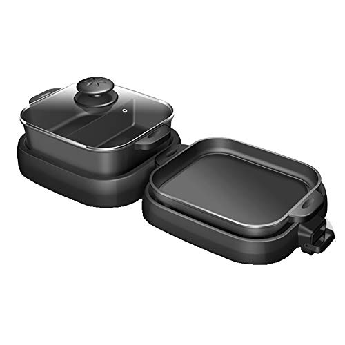 BBQ Hot Pot Doppeltopf, Multifunktions Kochgeschirr Topf Hot Pot Elektrogrill Backofen Elektrobackform, 2 Geschmacksrichtungen Hot Pot-black-2grids
