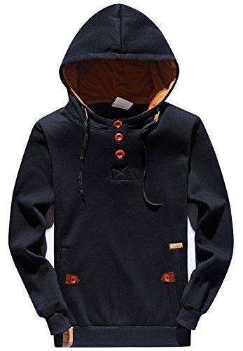YuKaiChen Men's Hoodies Pullover Long Sleeve Hoody Sport Sweatshirts Black Medium