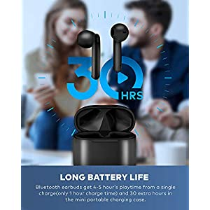 BEBEN Bluetooth 5.0 True Wireless Earbuds, IP68 Waterproof 30H Cyclic Playtime TWS Stereo Headphones for iPhone Android with Charging Case, in-Ear Earphones Headset with mic for Sport/Travel/Gym