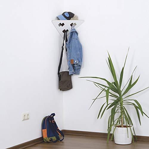 Garderobe   Garderobendreieck mit 3 Garderobenhaken   Schwarz & Weiß   Garderobenpaneel   Wandgarderobe   Eckgarderobe   Garderoben Set