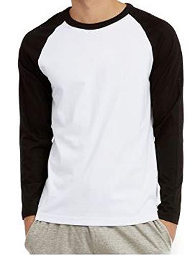 Blue Lemon Men's Cotton Long Sleeve Baseball Raglan TEE Shirt (Black/White, X-Large)