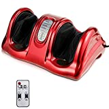 Giantex Shiatsu Foot Massager Machine Massage for Feet, Nerve Pain Therapy Spa Gift Deep Kneading Rolling Massage for Leg Calf Ankle, Electric Shiatsu Foot Massager w/Remote, Red