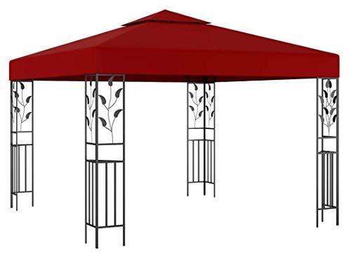 ZHENG Gazebo Plegable Carpas Plegables Gazebo Marquee Outdoor Garden Tienda, 3x3 M Vino Rojo