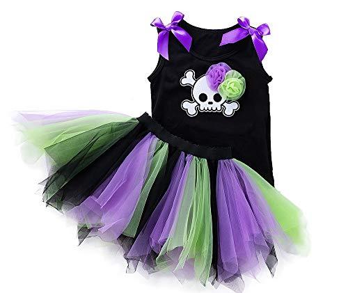 FANCYINN Baby Mädchen Skelett Tutu Kleid Halloween Outfit Kostüm 2er Set 30-36