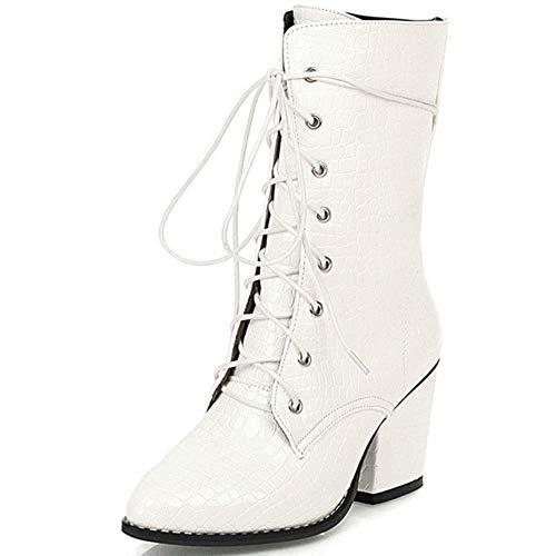 Gloednieuwe 2020 Big Size 48 Hoge Hakken Schoenveters Vrouwen Winter Schoenen Vrouwelijke Mode Beste Kwaliteit Dames Enkellaarsjes, wit, 15