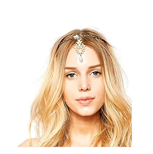 Cathercing Halloween Bohemian Rhinestone Tear Drop Pearls Pendant Head Chain for Women and Girls for Wedding Party Vintage Bridal Headband Headpiece Hair Accessories Jewelry for Prom