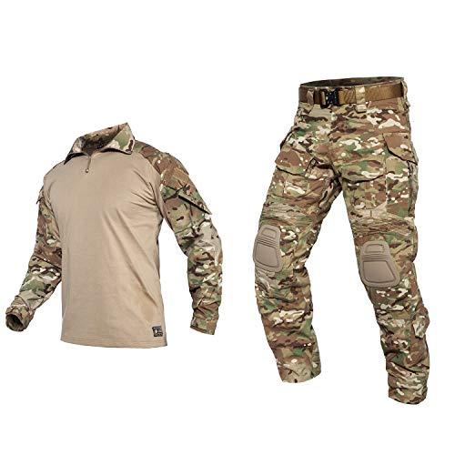 YEVHEV Herren Hemd und Hose Taktischer Anzug mit Ellbogenschützern und Knieschoner G3 US-Militär für Outdoor-Aktivitäten (Ohne Gürtel)
